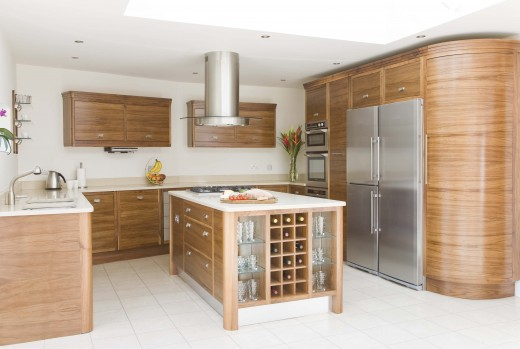 Satin walnut veneered kitchen