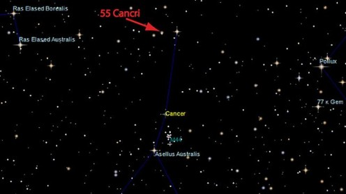 The star Cancri 55 is visible with naked eyes in the constellation of cancer. It'd be a nice astronomy project to find out Cancri 55 in the night sky. Isn't it? Who's up??