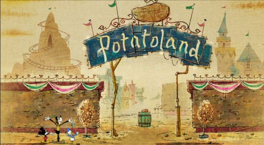 The joke here is that this is a reference to the Disneyland theme park. Made out of potatoes.