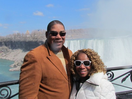 My husband Walker and I take a quick photo at Niagara Falls in Ontario, Canada.