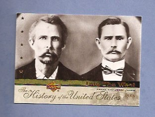 "Jesse (left), and Frank James, the most-famous outlaws, ""thugs,"" of the Old West."