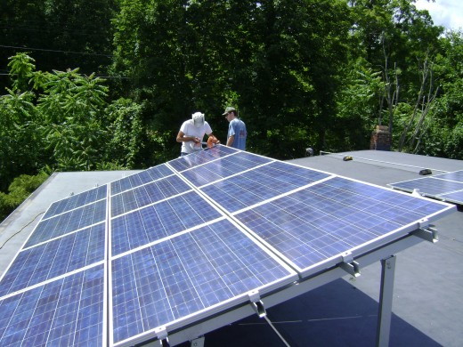 A rooftop solar PV system.