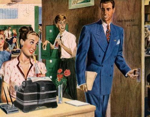 Either the kid in the background or the sharp salesman watching the pretty secretary is headed for an accident just because they are not thinking.