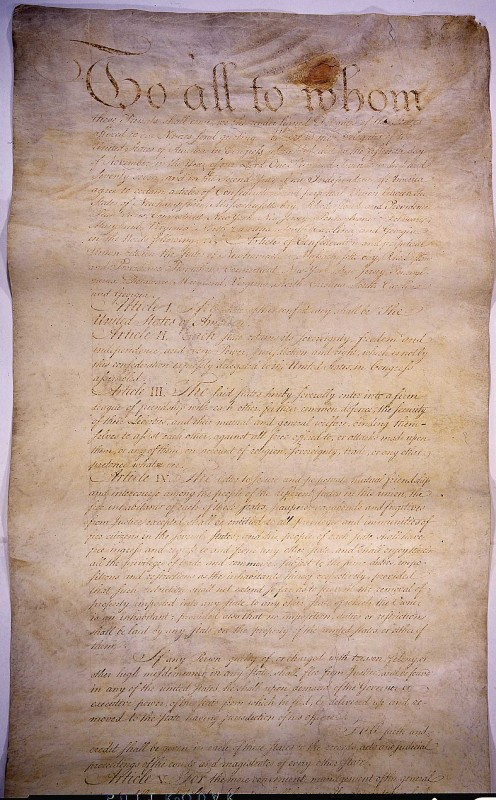 The Articles of Confederation was the first form of government for the United States after the victory in the American Revolution.