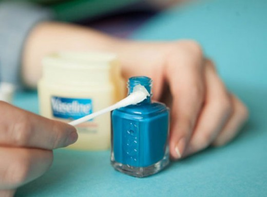 Are you having a hard time opening your nail polish? Well that's because there's so much dried polish on the sides and cap. Run cap in warm water. Rub off excess polish from sides. Finally add vaseline to prevent this from occurring again.
