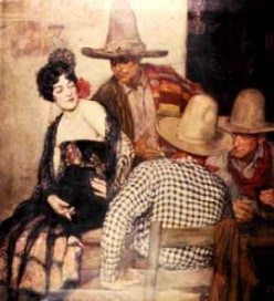 An early painting of a saloon girl keeping her customers happy.