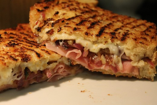 Ham, Jarlsberg, Caramelized Red Onion and Apple Grilled Cheese Sandwich