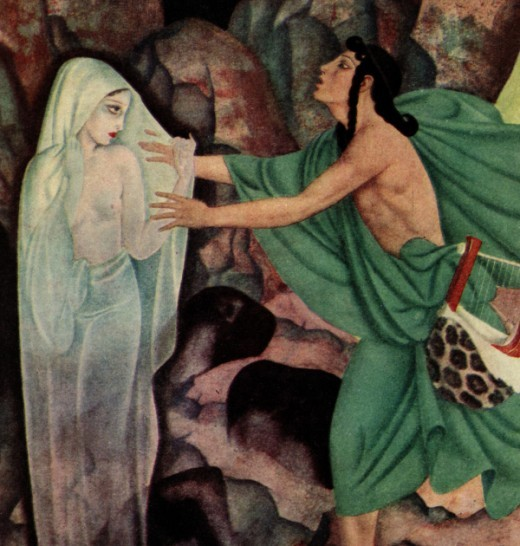 """Here we show a portion of 'Orpheus and Eurydice' by Edmund Dulac (1882-1953) - it is from a suite of illustrations published in """"Gods and Mortals in Love"""" (1935)."""