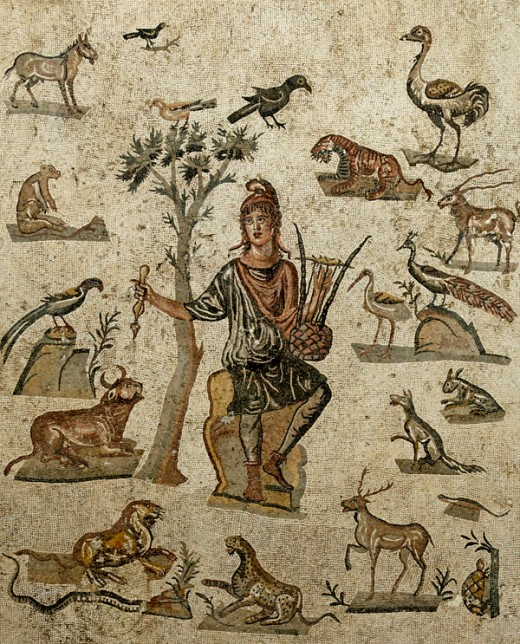 Here we show a Roman mosaic depicting Orpheus and the animals he had charmed with his music - that mosaic dates from the 3rd Century BC.