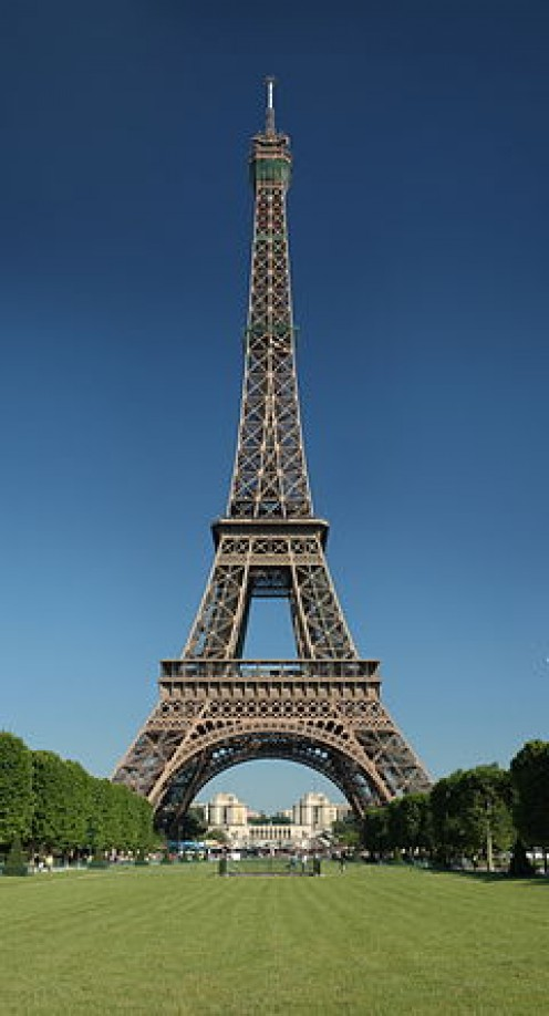 The Eiffel Tower, built in 1889 for the World's Fair in Paris