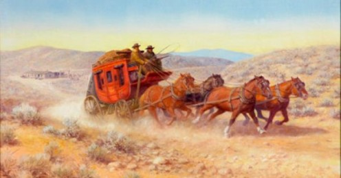 The stagecoach brought them to town