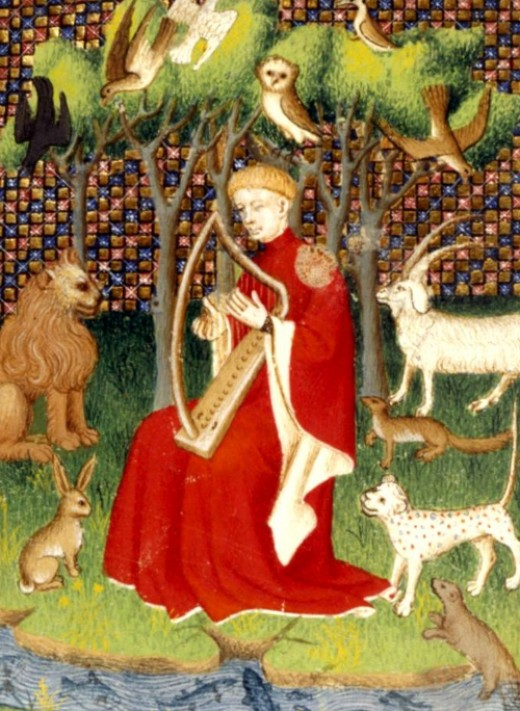 Here we show a portion of an illustration depicting Orpheus charming animals with his music - it is from an illuminated Medieval manuscript.