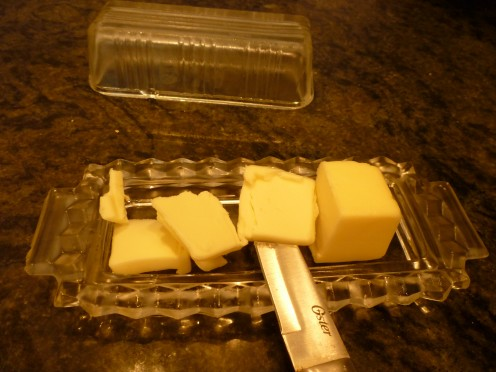 thin slices of stick butter