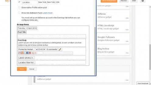 These images are the snippets of configure main body options that are available on blogger layout