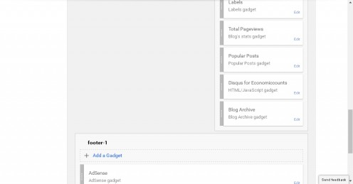 Above is the screenshot for blogger layout for customising Sidebar and Footer layout.