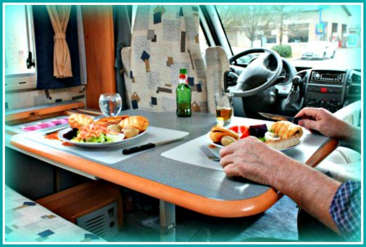 The dining space in an RV is much smaller than in a house.
