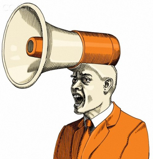 This is your view of your boss, but he wears this bullhorn for yelling only at you.