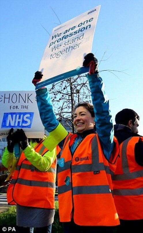 Junior doctors on  picket line at  Tunbridge Wells Hospital.