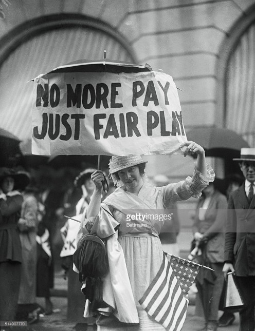 Miss Georgia Price,  chorus girl striker on  picket line Aug. 18, 1919.
