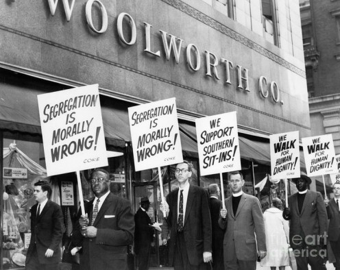 Civil Rights Workers protest against a Woolworth's store for not hiring African- American's to work along with whites.