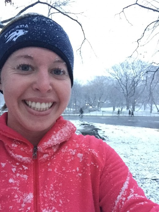 Caught in the snow while running through Central Park