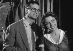 """Walter Matthau,  Patricia Neal watch  """"Larry 'Lonesome' Rhodes,"""" Andy Griffith, on his  nationally-known television program."""