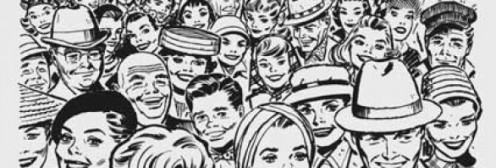 "A look at ""Faces In The Crowd,"" in an artist' conception of people from the 1950's and 60's."