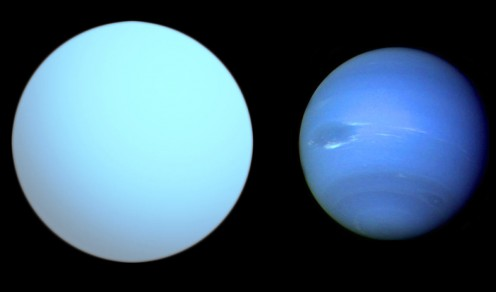 Comparison of Hat-P-1b (left) with Neptune (right).