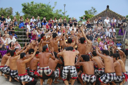 Kecak dance performance as a tourist attraction in Bali.
