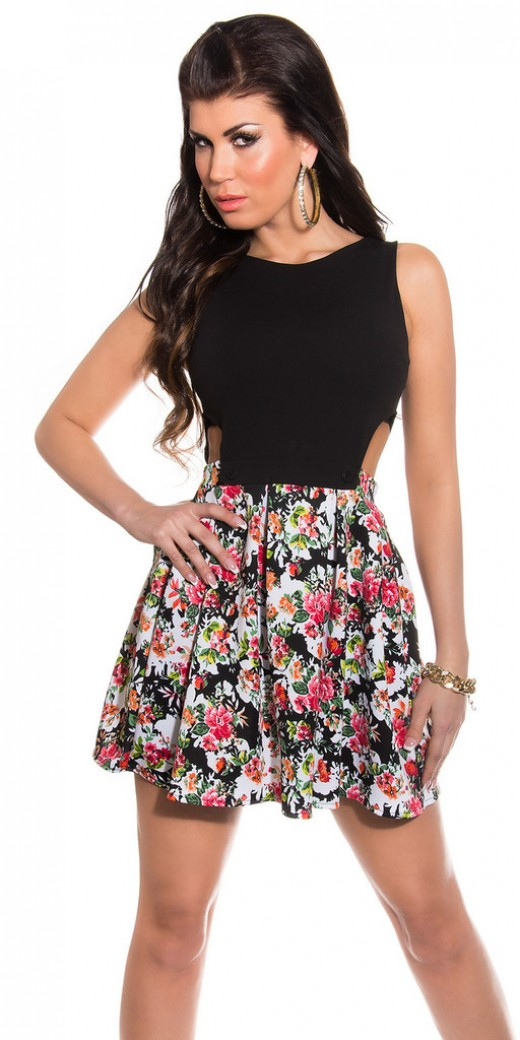 Vasilica Mini Dress With Cutouts And Floral Print