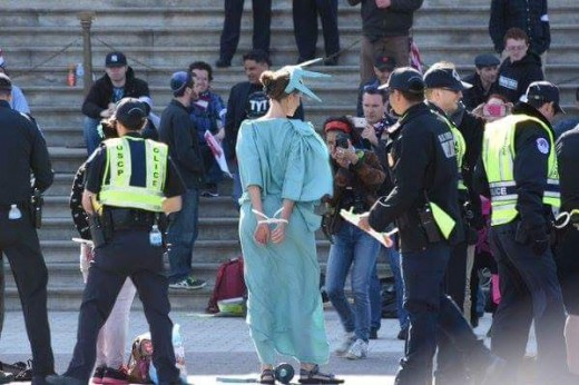 Democracy Spring protesters arrested in DC last week.