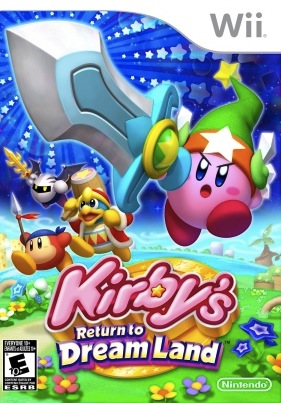 Kirby's Return to Dream Land U.S. box art. Note the more serious expression.