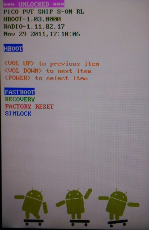 The three android menu. At the top it shows that the bootloader is unlocked.