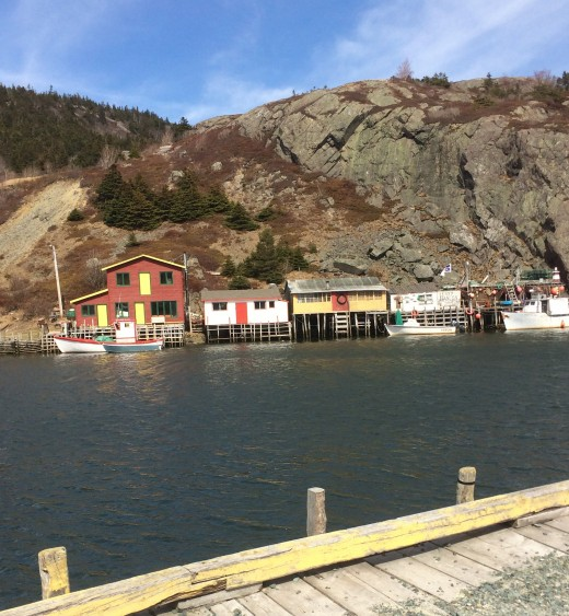 Fishing  stages across the water from Mallard Cottage's parking lot