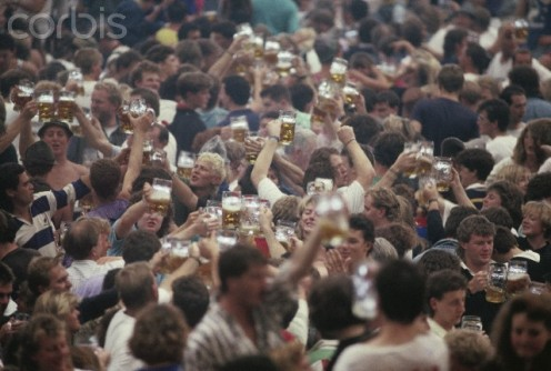 Australian and New  Zealand tourists in Hofbrau  Tent at Oktoberfest  Oct 1 1990.
