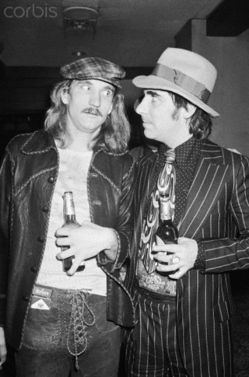 The Eagles, Joe Walsh, and The Who drummer, Keith Moon sample a cold beer.