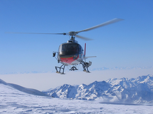 Heli skiing - Get dropped off in the middle of nowhere