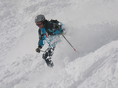 Extreme skiing action