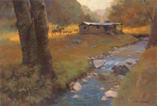 """Passing the Old Homestead"" - 16""x24"" Oil on Canvas by Roy Grinnell"