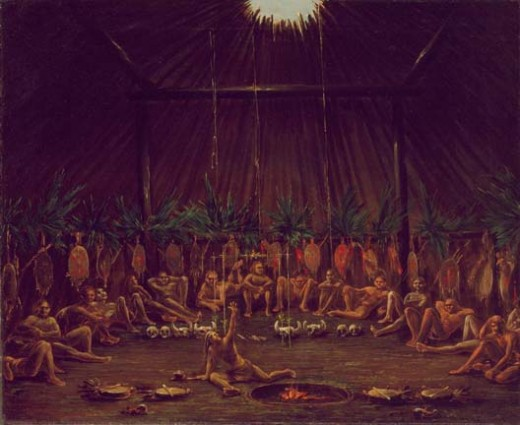 Mandan/Numakiki medicine lodge in 1832
