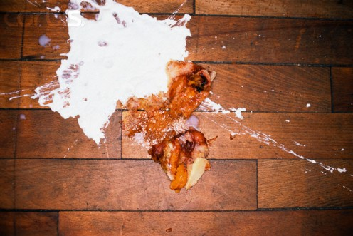 Desserts spilled on a restaurant floor and seldom cleaned up should tell you that you are in a filthy restaurant.