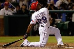 Beltre, an extreme example of his down on his hind knee swinging.