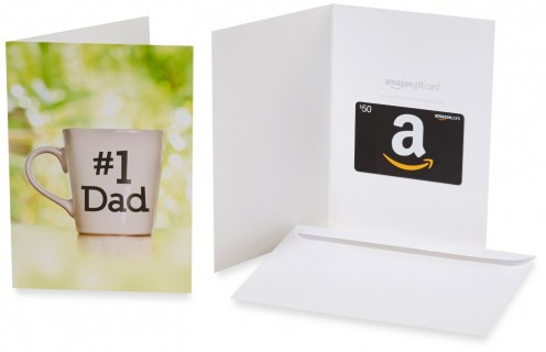 An Amazon.com gift card with a Father's Day theme; a perfect way to show your dad you think he's the best and that he's number 1