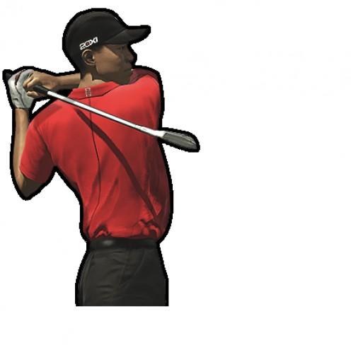 Tiger Woods swinging.