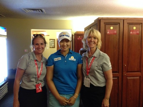 These volunteers have to introduce golfers, fans, and VIP's to each other all of the time.