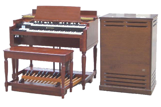 Here we show a Hammond B3 with a Leslie 122 Speaker.