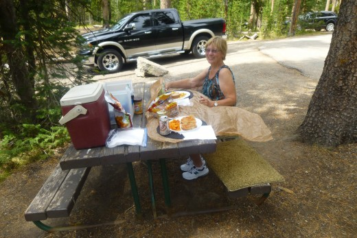 Here I am, enjoying the picnic lunch we brought from our cabin. WE stayed in a cabin on a ranch with horse back rides, etc. OOPPPS can't tell you about that now. That is another HUB to be written in the near future.