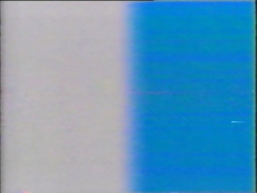 Televised 3D movies in the 80's started with this split screen test pattern. You had 60 seconds to adjust the television until the entire screen appeared to be the same color through the blue filter.