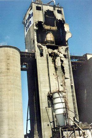 A grain silo (Class II) damaged by an explosion.
