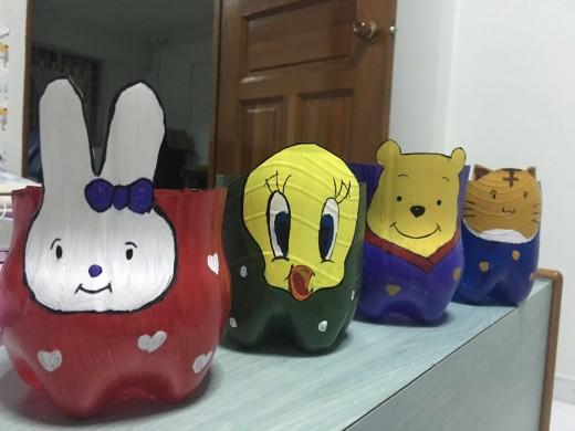 Miffy, Tweety, Winnie and Kitty - Flowerpots/ Pen stands